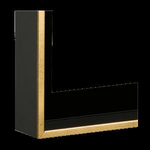 Schwarz matt - Sichtkante Gold (16-1147)